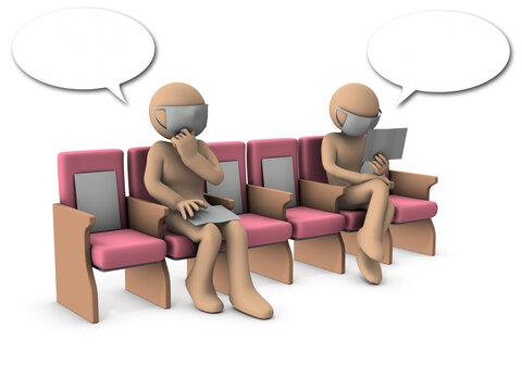 ソーシャルディスタンスをとって座る人物。白バック・3Dレンダリング。