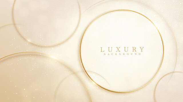 Elegant abstract background cream shade with geometric circle shape and line golden elements. Realistic luxury 3d modern concept. vector illustration for design.