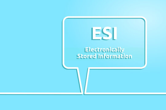 Electronically Stored Information. Sprechblase mit Text.