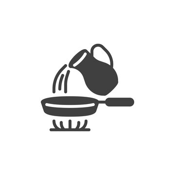 Frying pan on stove vector icon. filled flat sign for mobile concept and web design. Pouring water into frying pan glyph icon. Symbol, logo illustration. Vector graphics