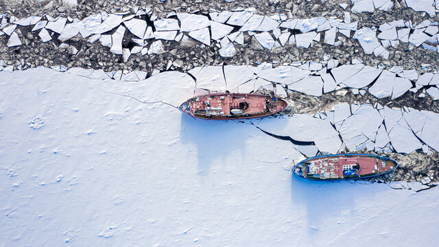 Top down view of icebreakers on Vistula River, Poland