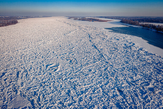 Aerial view of ice jam on Vistula River in winter