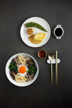 Korean traditional food, Bibimbap and pancakes (Jeon)