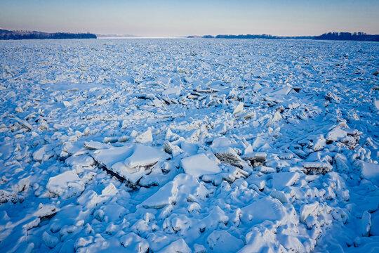 Ice jam on Vistula river in winter, Plock, Poland