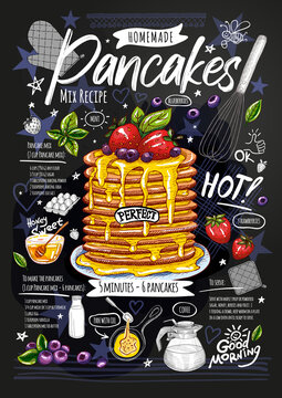Food poster, pancakes recipe, ingredients, home made. Honey sweet, baked crepes, strawberry, breakfast, berries. Yummy cartoon style isolated Hand drew vector