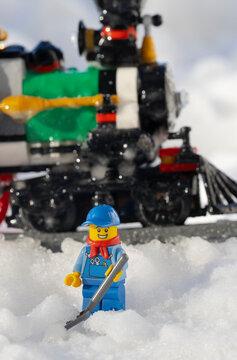 Lippstadt - Deutschland 11. Februar 2021 Lego Eisenbahner