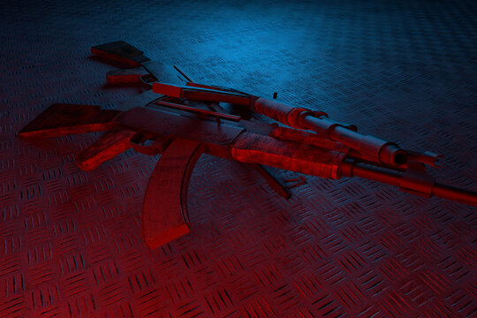 Modern automatic rifle with a collimator sight on a dark background. Tactical submachine gun. Weapons for police and special units. 3d rendering