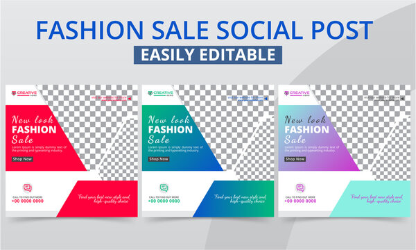 Premium Fashion Sale Social Media Post for the shop owner new arrival & clothing collection promotion. Modern geometric garments shop sales social layouts square web banner digital marketing vector.