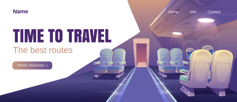 Time to travel banner. Concept of airline journey with best routes for vacation. Vector landing page with cartoon luxury interior of business class plane cabin with comfortable seats