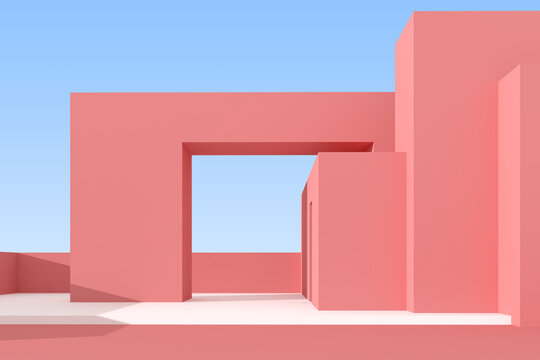 3D illustration of abstract architecture background, Minimal architectural poster.