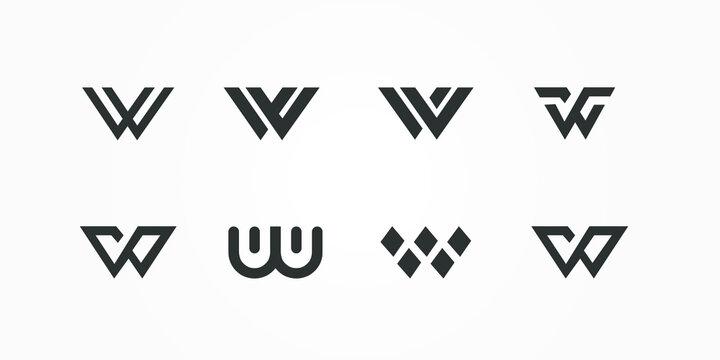 geometric triangle logo letter w