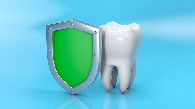 Tooth and shield. Teeth protection. 3d render