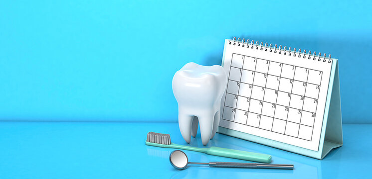 Reminder calendar for visiting the dentist. Dental appointment, check. Calendar with a tooth and a dental mirror and a toothbrush on a blue background. Copy space for text. 3d render