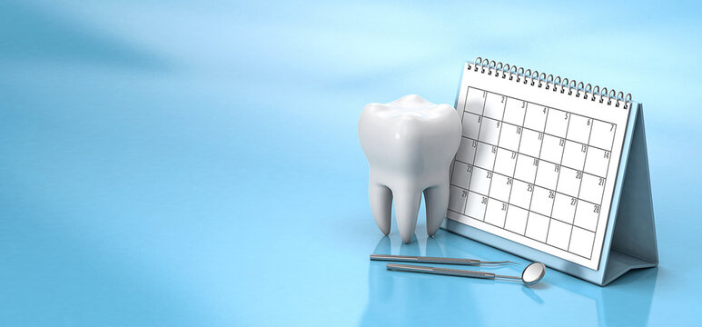 Reminder calendar for visiting the dentist. Dental appointment, check. Calendar with a tooth and a dental mirror on a blue background. Copy space for text. 3d render