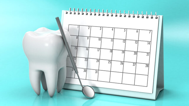 Reminder calendar for visiting the dentist. Dental appointment, check. Calendar with a tooth and a dental mirror on a green background. 3d render