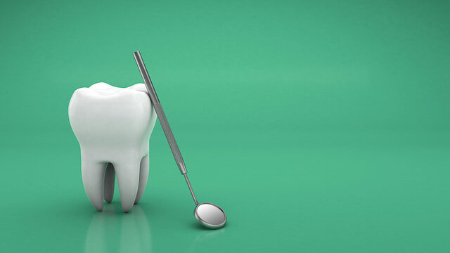 Tooth and dental mirror. Dental treatment. Copy space for text on a green background. 3d render
