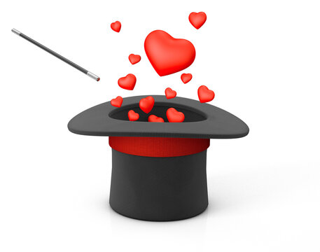 Magician hat and red heart symbol of love. isolated on white background. 3d render