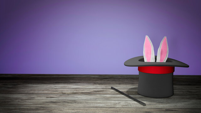 Magician hat. Rabbit ears stick out with a black top hat with a red ribbon and a magic wand. Purple background with wooden floor. 3d render.