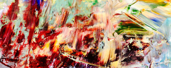 Colorful abstract painting background. Modern motif visual art .Intensive multicolor mix of oil vibrant colors. Trendy hand painting canvas . Paint brushstrokes on canvas for trendy poster wallpaper.