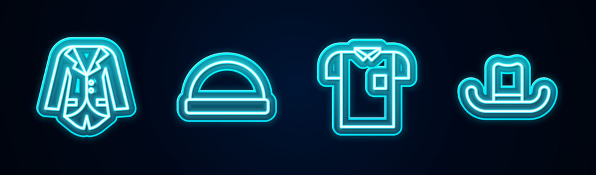Set line Blazer or jacket, Beanie hat, Polo shirt and Man. Glowing neon icon. Vector.