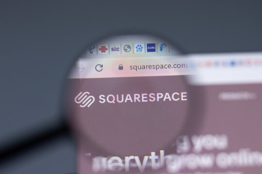 New York, USA - 17 February 2021: Squarespace logo close up on website page, Illustrative Editorial.