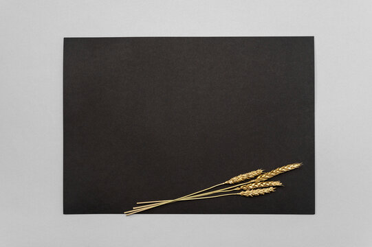 Black invitation card mockup with a golden dried eucalyptus decoration on a neutral table. Black pape 5x7 ratio, similar to A3, A4, A5. minimalistic design