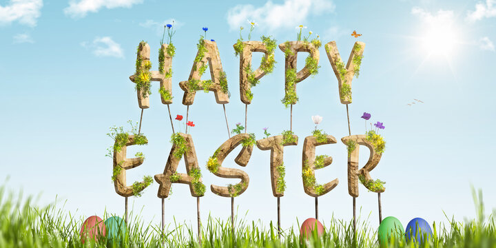 Colorful Happy Easter lettering on green grass
