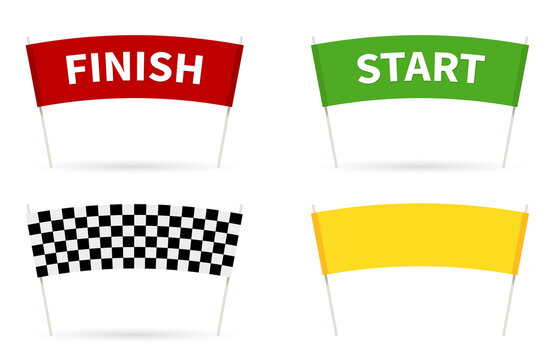 Flag Start. Flag finish for the competition. streamers of Start and Finish in flat style. 4 different colors of a finish line. vector illustration isolated on white.