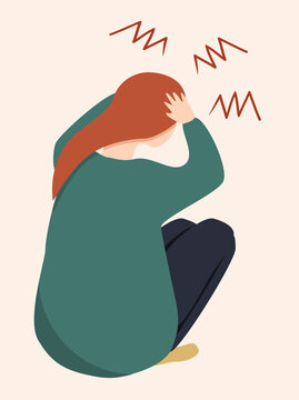 vector illustration of a girl sitting, clasping her head with her hands. a picture on the topic of negative emotions, hatred, anger, burnout, despair. trending flat illustration for web, magazine