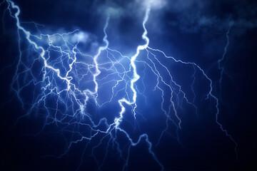 Flash of lightning on dark background. Thunderstorm