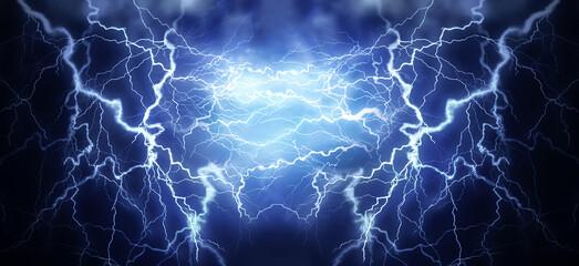 Flash of lightning on dark background, banner design. Thunderstorm