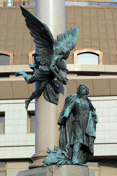 Lviv, Ukraine - March 10, 2018: Monument to Adam Mickiewicz, a Polish poet, dramatist, publicist, translator, professor of Slavic literature, and political activist of 19th century.
