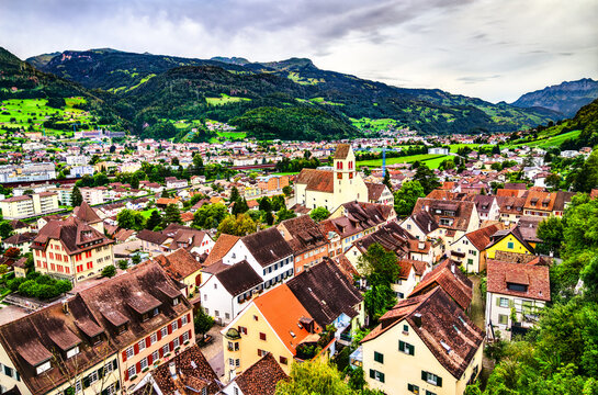 Skyline of Sargans, a town in the canton of St. Gallen in Switzerland
