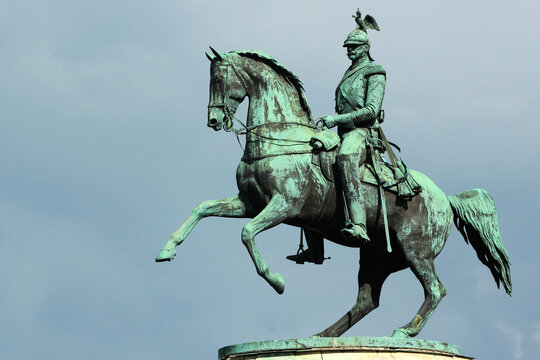 Bronze monument of Tsar Nicholas I on Saint Isaac's Square in Saint Petersburg, Russia. One of the few equestrian statues in the world with merely two support points.