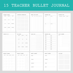 Obraz Planner pages bullet journal for teachers, daily,weekly, class list - fototapety do salonu
