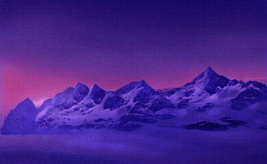 Mountains in snow against dark purple pink sky. Beautiful natural landscape. Vector illustration.