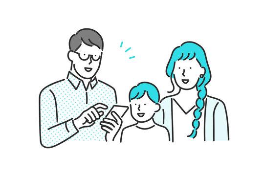 スマホを操作する家族のイラスト素材