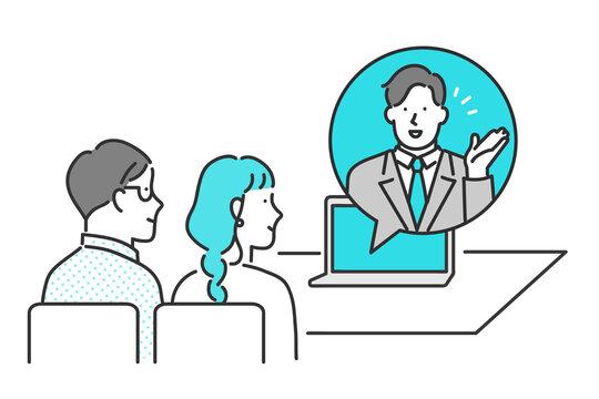 オンラインでお客様に提案をするビジネスパーソンのイメージイラスト素材