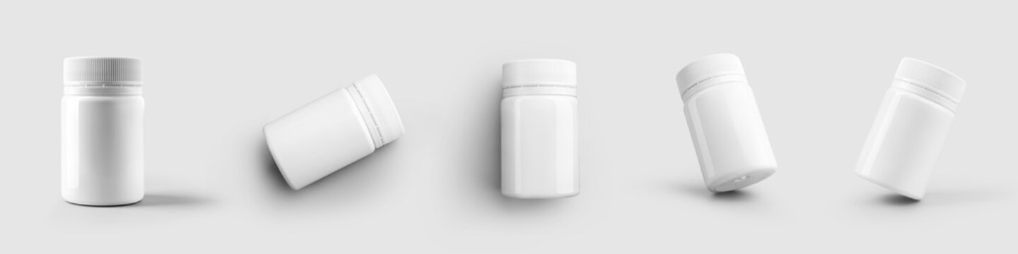Mockup of a white plastic bottle for vitamin, pills, packaging with a cap, isolated on a background.