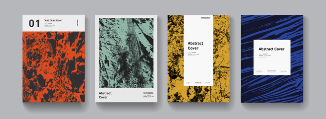 Fototapeta Set of abstract modern grunge posters. Halfrone textures collection Minimal futuristic covers vector design. Textured retro background.. obraz