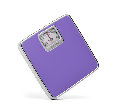 Mechanical bathroom scale on white background
