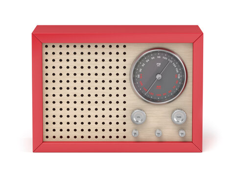 Front view of red retro radio on white background