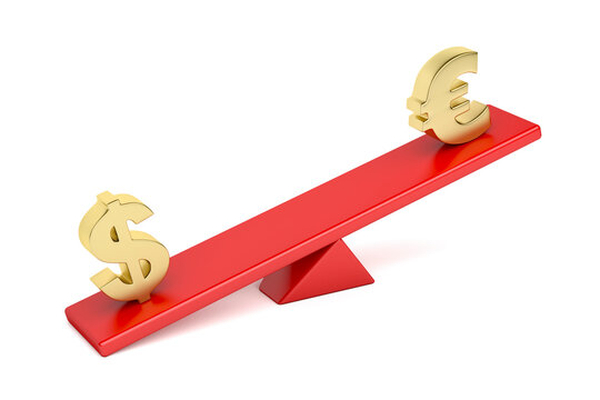 US dollar versus Euro on seesaw. Concept image for disbalance between currencies.