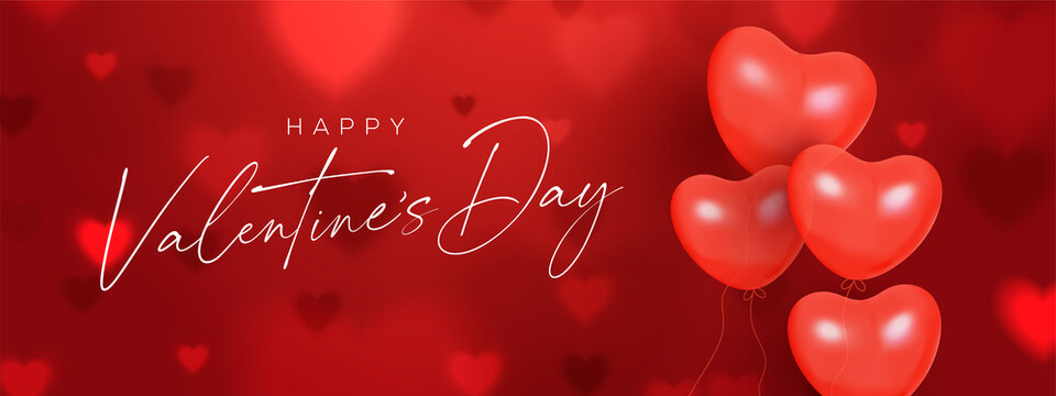 Creative Valentine's Day Red banner. Romantic composition with hearts shape balloons and bokeh effect.