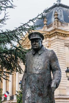 Winston Churchill Statue (1998) near Petit Palais, at Avenue Winston Churchill. Sir Winston Churchill - first Prime Minister, who led Britain during World War II. PARIS, FRANCE. September 2, 2017.