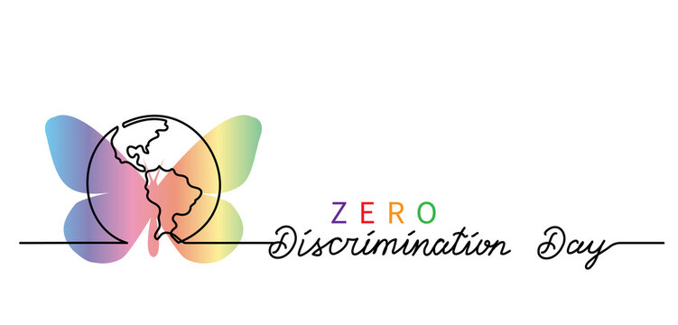 Zero Discrimination Day simple vector banner, poster, background with rainbow butterfly and planet, globe. Lettering Zero Discrimination