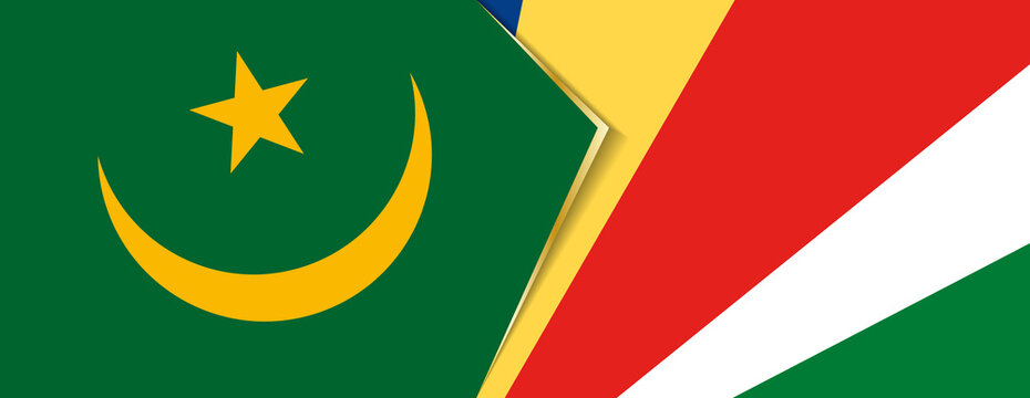Mauritania and Seychelles flags, two vector flags.