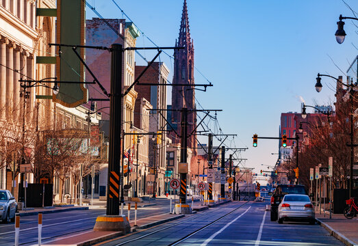 Buffalo Main street and tram line in direction of Saint Louis Roman Catholic Church