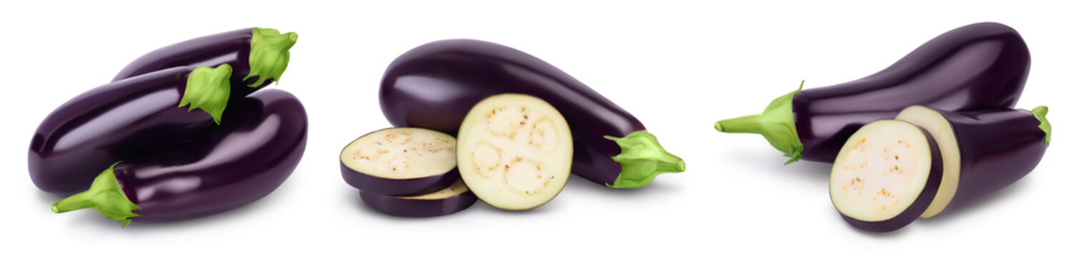 Eggplant or aubergine isolated on white background with full depth of field, Set or collection