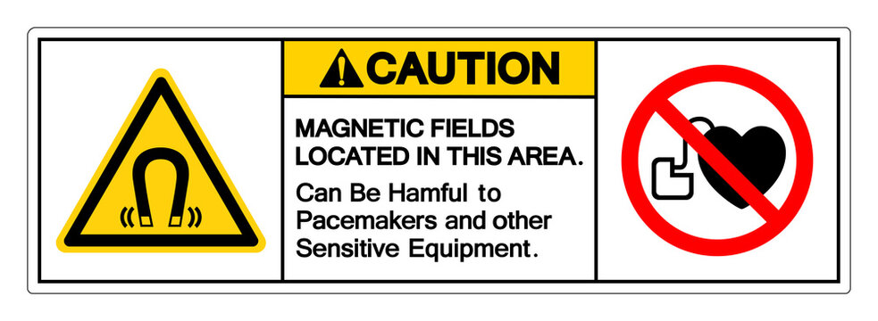 Caution Magnetic Fields Located In This Area Can Be Hamful To Pacemakers and other Sensitive Equipment Symbol Sign, Vector Illustration, Isolate On White Background Label .EPS10